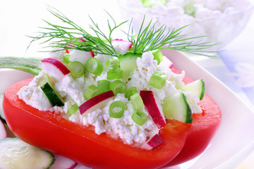 Paprika stuffed cottage cheese with cucumber and radish