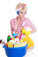 Coquettish pinup woman with cleaning set