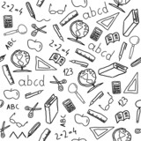 School objects - seamless vector doodle art poster