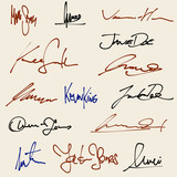 Signatures set - ficticious contract signatures