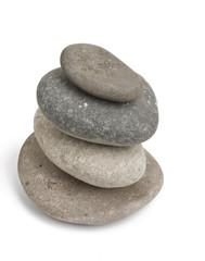 Balancing rocks isolated against white background