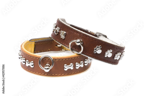 brown leather collars isolated over white background