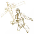 parachutist, hand drawing, outlines isolated on white