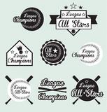 Vector Set: Baseball and Softball All Star & Champions Labels