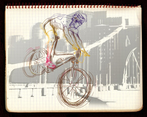 Hand drawing. Sport theme. This is a cyclist (mountain Bike).
