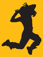 girl silhouette dancing