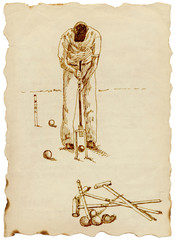 Hand-drawn picture. Popular sport - Croquet Player