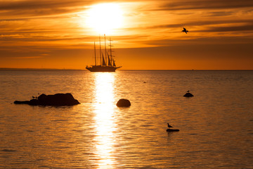 Tall sailing ship silhouette