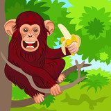 vector happy monkey chimp in the jungle with banana