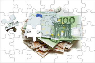 Euro banknotes.Puzzle picture