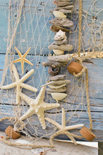 Filet de pêche avec des épaves, des étoiles de mer et coquillages