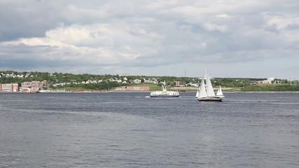 Boats sailing on Halifax Harbour, Halifax, Nova Scotia, Canada.