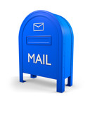 Blue isolated postbox with an envelope sign 3 poster
