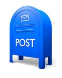 Blue isolated postbox with an envelope sign poster