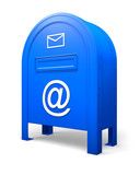 Blue isolated postbox with signs AT and ENVELOPE poster
