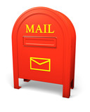 Red isolated postbox with an envelope sign 2 poster