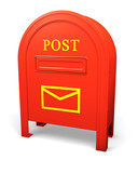 Red isolated postbox with an envelope sign poster