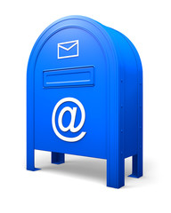 Blue isolated postbox with signs AT and ENVELOPE