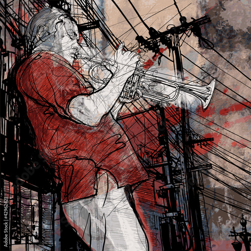 Foto op Plexiglas Muziekband trumpeter on a grunge cityscape background
