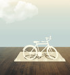 bicycle Paper cut on wood table