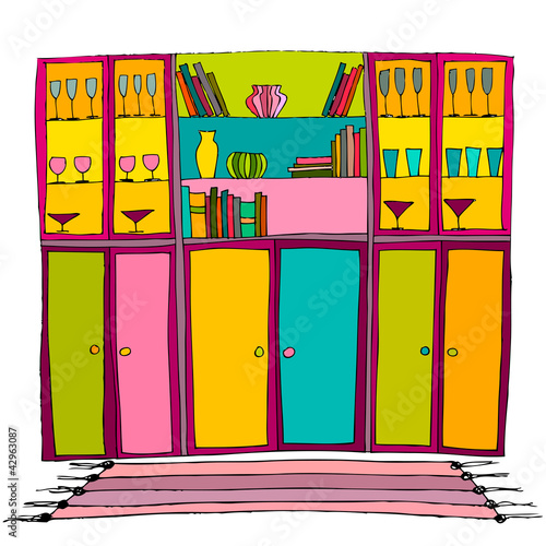 illustration of interior, bookshelf