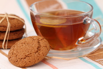 Homemade oat cookies and tea