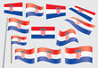 set of flags of Croatia vector illustration