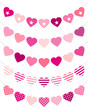 5 Seamless Heart Buntings Curve Pink Mix