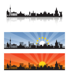 Central European Capital Cities Silhouette