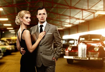 Couple in retro garage