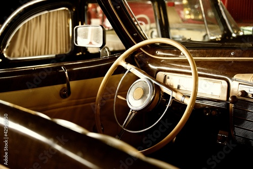 Wall mural Retro car interior