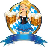 Fototapety Bavarian Girl with flag and beer