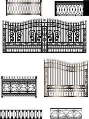 black fences collection isolated on white