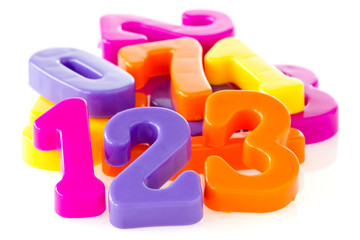 Colorful assorted plastic numbers