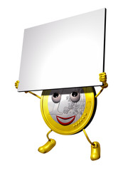 Euro character holding information tablet
