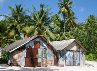 Palmenstrand mit Hütten