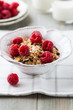Muesli with fresh raspberries and dried fruits