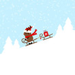 Rudolph Sledding On Sleigh Pulling Sleigh Gift Blue