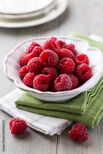 Bowl of fresh raspberries