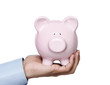 Young adult holding piggy bank isolated on whie background