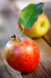 apples on wooden board