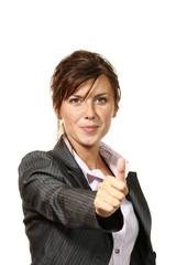 beautiful businesswoman portrait in studio, ok sign