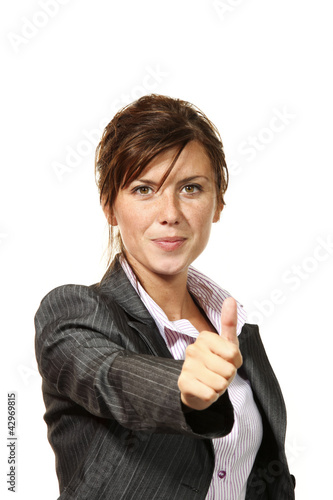 beautiful businesswoman portrait in studio, ok sign