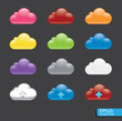 Vector  button with cloud color icon