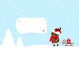 Rudolph Pulling Sleigh Gift Speech Bubble Blue