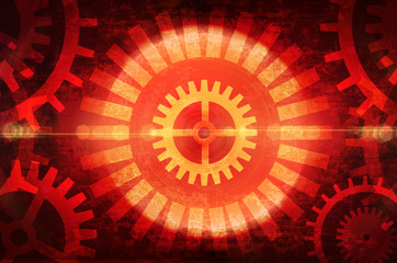 red dark background with gears