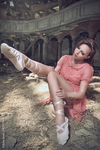 ballet dancer posing on church