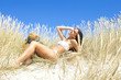 Young caucasian woman on the beach