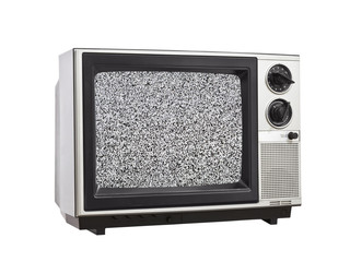 Vintage Television with Static Isolated