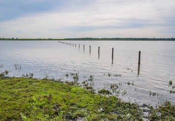 Flooded grassland with a barbed wire fence